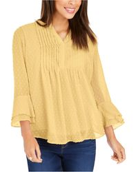 Charter Club Double-ruffle Textured Pintuck Top, In Regular And Petite, Created For Macy's - Yellow