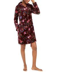 Sesoire Floral-print Short Zipper Robe - Red