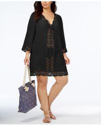 La Blanca Plus Size Crochet-trim Cover-up Dress - Black