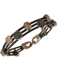 Lucky Brand - Bracelet, Gold-tone Jade Stone Woven Leather Bracelet - Lyst