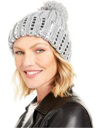 DKNY Flat-stud Metallic Rib-knit Beanie