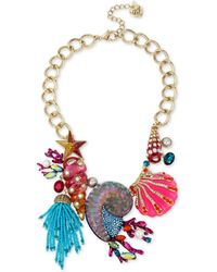 "Betsey Johnson - Gold-tone Crystal, Stone, Bead & Imitation Pearl Seashell Statement Necklace, 16-1/2"" + 3"" Extender - Lyst"