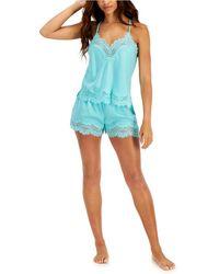 I.N.C International Concepts Lace-Trim V-Back Pajama Set Blue