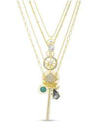 Kensie Rhinestone Charm Multi Layered Yellow Gold-tone Necklace - Metallic