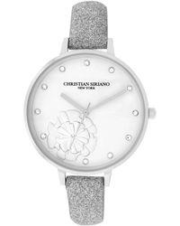 Christian Siriano Analog Silver-tone Stainless Steel Glitter Strap Watch 38mm - Metallic