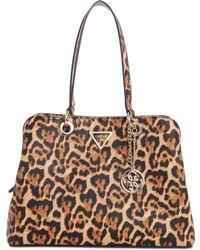 Guess - Lauri Leopard Shoulder Bag - Lyst