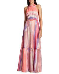 Tahari Mock-neck Tiered-hem Dress - Pink