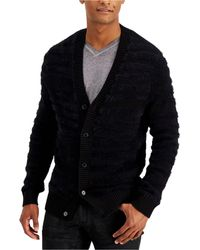 INC International Concepts Fuzzy Striped Cardigan, Created For Macy's - Black