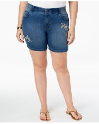 Lee Platinum - Plus Size Embroidered Denim Shorts - Lyst