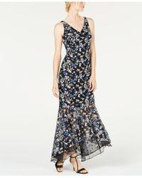 c0835ad4bf56 Calvin Klein Crepe Halter Gown in Black - Lyst