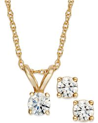 Macy's - Round-cut Diamond Pendant Necklace And Earrings Set In 10k Gold (1/4 Ct. T.w.) - Lyst