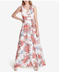 Tahari Crossover-neck Floral Maxi Dress - Red