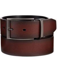 Perry Ellis Men's Leather Mahogany Reversible Belt - Brown