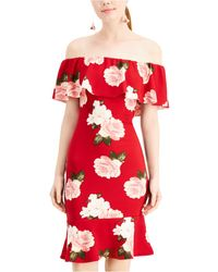 Almost Famous Juniors' Floral Off-the-shoulder Dress - Red
