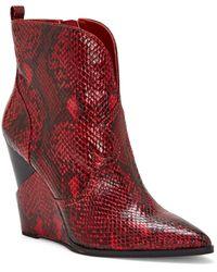 Jessica Simpson - Hilrie Snake Skin Print Wedge Booties - Lyst