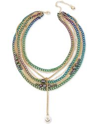 BCBGeneration Goldtone And Faux Pearl Multi-chain Layered Statement Necklace - Metallic