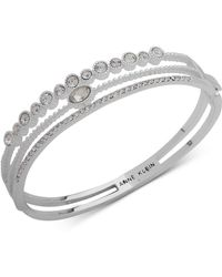 Anne Klein - Silver-tone Crystal Triple-row Bangle Bracelet, Created For Macy's - Lyst