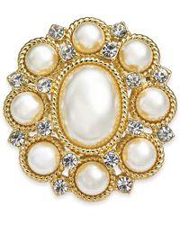 Charter Club Gold-tone Crystal & Imitation Pearl Pin, Created For Macy's - Metallic