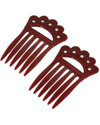 2028 Plastic With Clear Crystal Double Hair Comb - Red