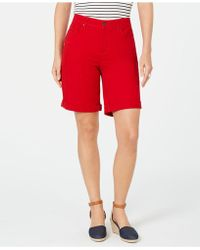 Charter Club Rolled Denim Shorts, Created For Macy's - Red