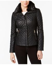 INC International Concepts - Faux-fur-collar Faux-leather Quilted Jacket - Lyst
