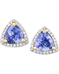Macy's | Tanzanite (1-3/8 Ct. T.w.) & Diamond (1/8 Ct. T.w.) Stud Earrings In 14k White Gold | Lyst