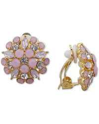 Nina Gold-tone Multi-stone Flower Clip-on Stud Earrings - Metallic