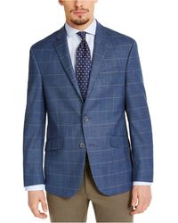 Kenneth Cole Reaction Slim-fit Stretch Blue & Tan Windowpane Sport Coat, Created For Macy's