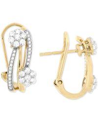 Wrapped in Love - Diamond Cluster Hoop Earrings (3/4 Ct. T.w.) In 14k Gold - Lyst