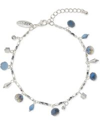 Style & Co. Shaky Crystal & Bead Double-chain Ankle Bracelet, Created For Macy's - Blue