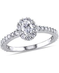 Macy's Oval Certified Diamond (1 Ct. T.w.) Halo Engagement Ring In 14k White Gold - Metallic