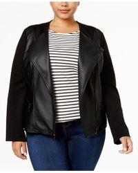 3d3bfbeb1aec9 Alfani - Plus Size Faux-leather Contrast Jacket - Lyst