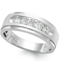 Macy's Men's Five-stone Diamond Ring In 10k White Gold (1/4 Ct. T.w.)
