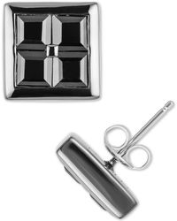 Macy's Black Sapphire Square Stud Earrings (3-3/4 Ct. T.w.) Sterling Silver & Black Rhodium-plate - Metallic