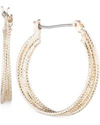 """Nine West - Multi-row 1"""" Textured Hoop Earrings - Lyst"""