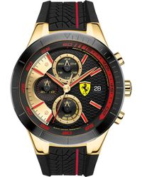 Ferrari - Red Rev Evo Chronograph Black Silicone Strap Watch 46mm - Lyst