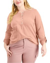 Style & Co. Plus Size Cotton Roll-tab Henley Top, Created For Macy's - Multicolor