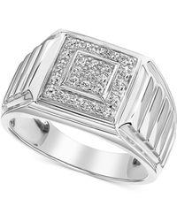 Macy's Diamond Square Cluster Ring (1/3 Ct. T.w.) In 10k White Gold - Metallic