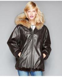 The Fur Vault - Leather & Rabbit Fur Reversible Hooded Jacket - Lyst