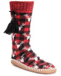 Muk Luks Tassel Sock Boot Slipper - Red