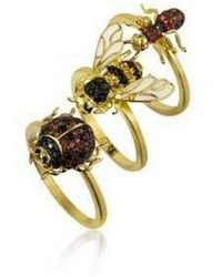 Noir Jewelry Stackable Cubic Zirconia Bug Ring Set - Metallic