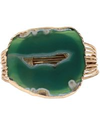 Robert Lee Morris Agate Stone Multi-row Cuff Bracelet - Green