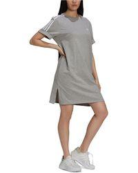 adidas Cotton Striped-shoulder T-shirt Dress - Grey