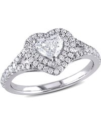 Macy's Certified Diamond (1 Ct. T.w.) Heart-shape Double Halo Engagement Ring In 14k White Gold - Metallic