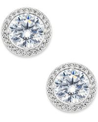 Danori - Silver-tone Cubic Zirconia Framed Stud Earrings - Lyst