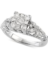 Macy's - Diamond Cluster Openwork Engagement Ring (7/8 Ct. T.w.) In 14k White Gold - Lyst