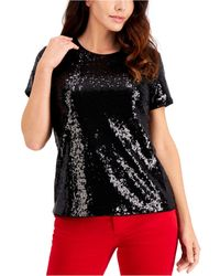 Charter Club Petite Sequinned Top, Created For Macy's - Black