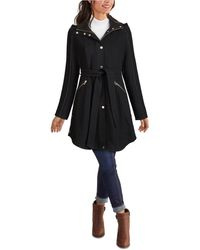 Guess Belted Hooded Coat - Black
