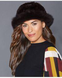 The Fur Vault - Fox-trim Rabbit Fur Hat - Lyst