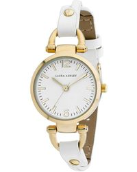 Laura Ashley Ladies' Logoed White Dial With Analog Display Twisted White Band Round Watch